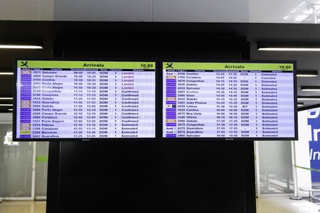 Flight panel in front of the international arrivals area at Brasilia's International Airport.