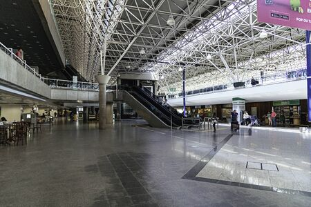 Escalators in the arrivals area of Brasilia's International Airport.