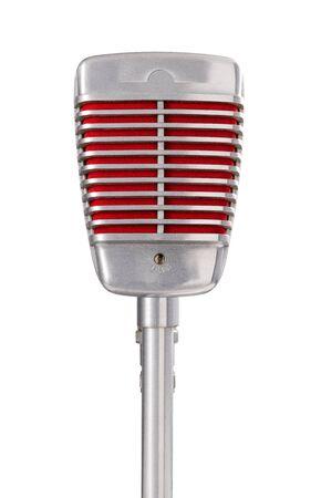 Vintage microphone on white background Banco de Imagens