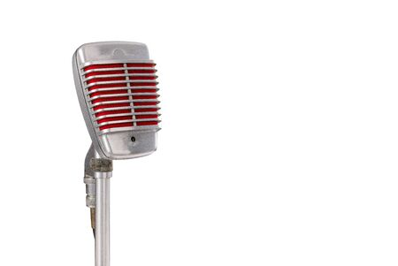 Vintage microphone on white background 版權商用圖片
