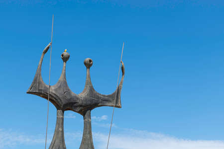 The Warriors, sculpture located at the Three Powers Plaza in Brasilia, Brazil. It's commonly known as The Candangos (Os Dois Candangos).