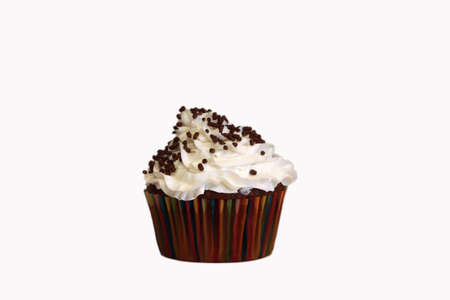 chocolate sprinkles: An isolated chocolate cupcake with vanilla frosting on a white background and chocolate sprinkles.