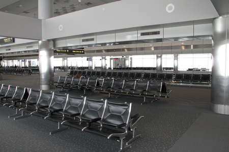 seating area: Empty seating area in the airport.