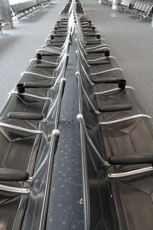 seating: Empty seating area in the airport.