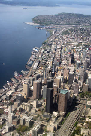 puget: A view of the Seattle, Washington skyline looking down.