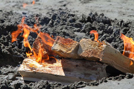 Fire on the beach in the sand at Ocean Shores, Washington