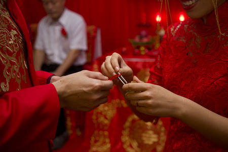 Close up of hand in the Chinese wedding ceremony