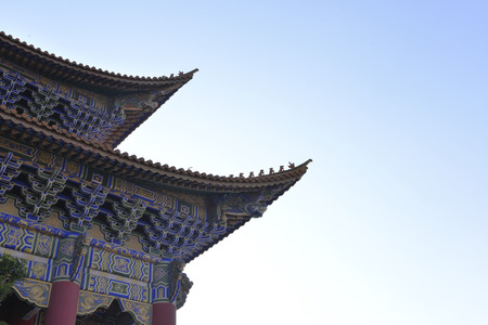eaves: Eaves and roof of the temple Stock Photo