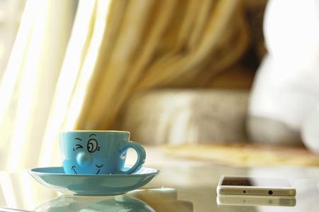 mischievous: Coffee, Cup, cute, decorative, mischievous smile, grimace, communication, electronics