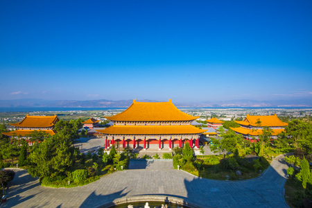 ancient architecture: Overhead imagery of chongsheng Temple