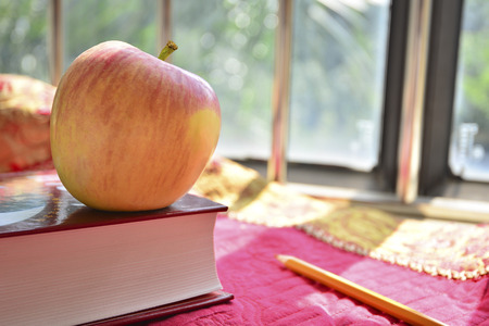 cornerstone: Close up to an apple on top of a book  Stock Photo