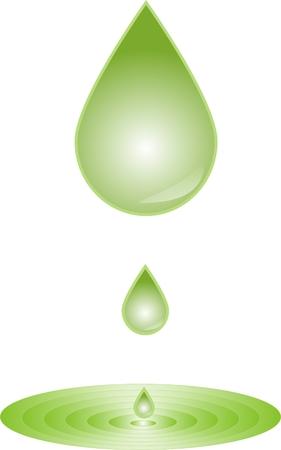 diesel engine: Green water droplets Illustration