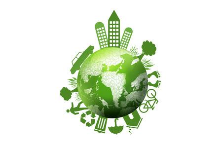 緑の地球、地球の環境コンセプト 写真素材