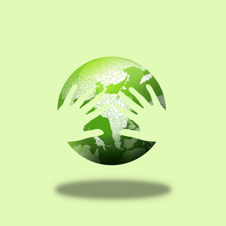 renewable resources: Hug the earth,environmental concept of earth Stock Photo
