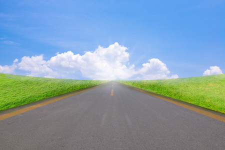 next horizon: asphalt road and green grass, great for your design and concept