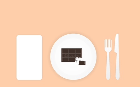 chocolate bar: a little chocolate bar on a white plate with fork and knife Illustration