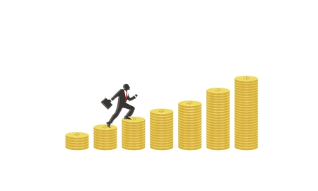 goes: Businessman goes up the gold coins on a white background