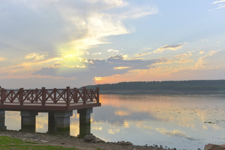 naivasha: Sunset on a Pier over lake