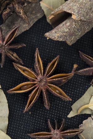 anise: star anise,bay leave,cinnamon Stock Photo