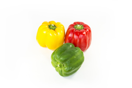 pimiento: Peppers rot, yellow ,green isolated on white Background.