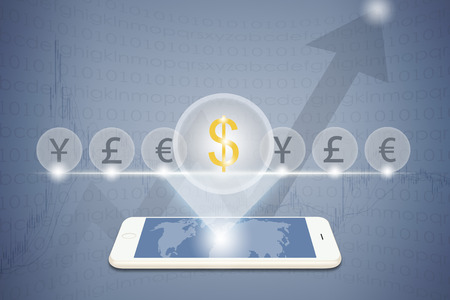 indexes: Smart phone operating financial dollar symbol global currency trading concept stock market curve graph abstract background Stock Photo