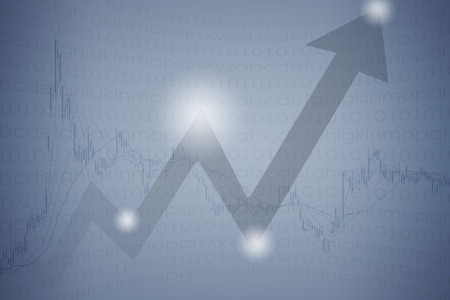 upward graph: Upward arrow and stock market curve graph abstract background