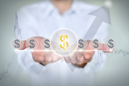 foreign trade: Businessman hands around the financial and stock market rose $symbol arrow curve abstract background