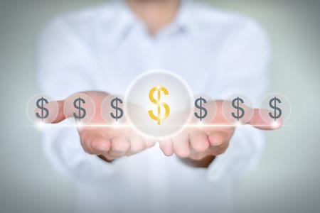 financial symbol: Hands around financial symbol Businessman
