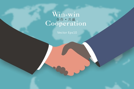 virtual world: Cooperation and win-win concept and virtual fuzzy world map background Illustration