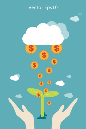 new economy: With the seedlings, the sky clouds falling from the gold dollar Illustration