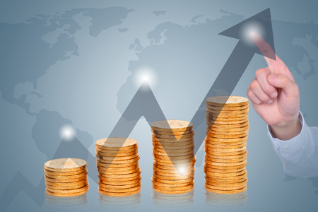 Merchant finger click on the rising arrow - the rapid economic growth and improve