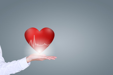 heart disease: Health and medical people heart disease concept, features with the 3D red