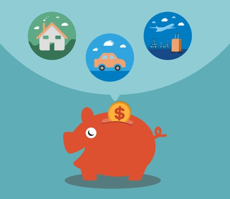 yearning: Savings for the dream house for cars and holidays. The concept of saving and investment. The concept of financial planning in the future.