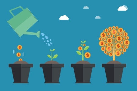 The concept of money growth in the evolution of money growth and the concept of money growth to make money to invest in profitable financial management concepts Illustration