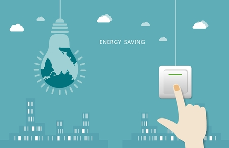 according: Hand according to the switch off the city background - sustainable development, cherish the energy concept