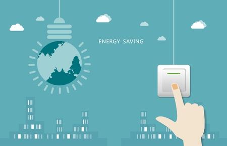 curare teneramente: A mano secondo l'interruttore al largo della città di sfondo - lo sviluppo sostenibile, amare il concetto di energia Vettoriali