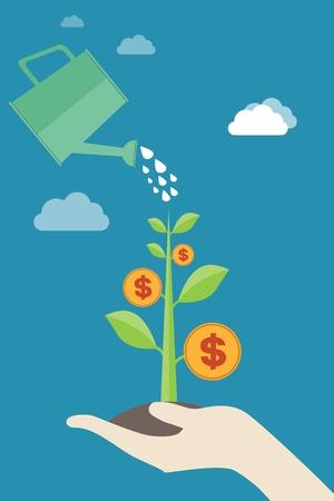 Hot money tree: economic growth, monetary growth, investment, profits, financial management concepts Illustration