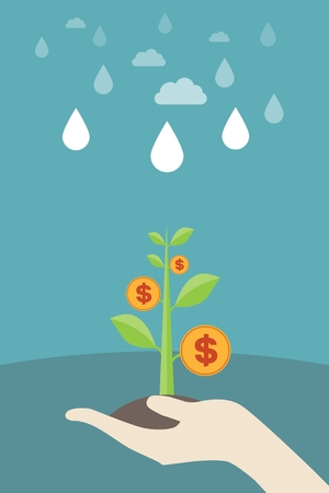 evolutionary: Holding the money tree seedlings: economic growth, monetary growth, investment, profits, financial management concepts Illustration