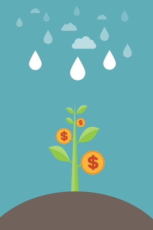 evolutionary: Rain watered money tree - economic growth, monetary growth, investment banking, profit, financial management concepts and creative Illustration