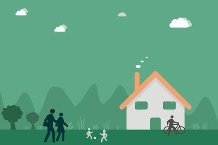 rural scene: Flat background illustration of rural life scene Illustration