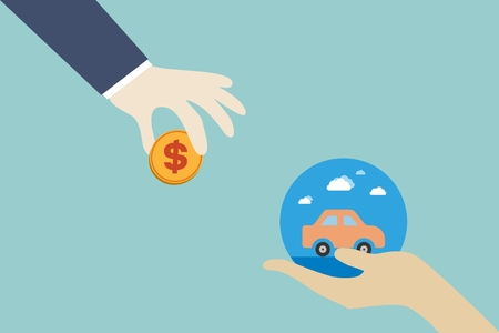 sell out: car sales market trading concept