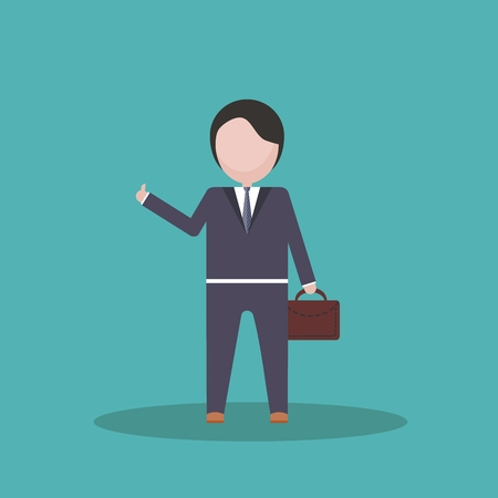 absorbed: Business person with  portable briefcase thumbs up cartoon image