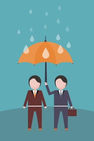 absorbed: Two businessmen in the rain under an umbrella Illustration