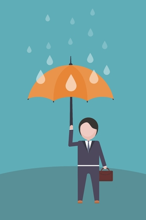 A man with a briefcase is holding an umbrella in his hand. Illustration