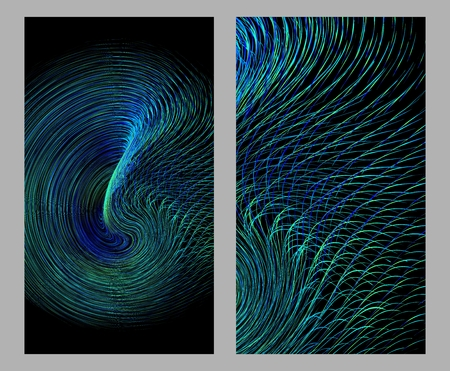 The curve is composed of the luminous spiral abstract background.
