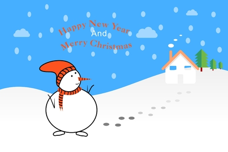 Snowman scene, happy new year and Christmas illustration