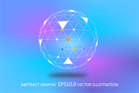Point, line and plane line polygon mesh sphere, the sphere of 3D abstract, colorful background