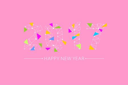 2017 font, point line connection grid, color scattered broken triangle, design 矢量图像