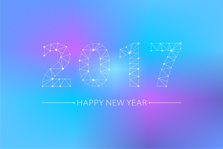2017 font, point line connected to the grid, design