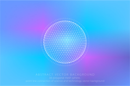 Point line link 3D polygon mesh sphere, the point line connection abstract science and technology background